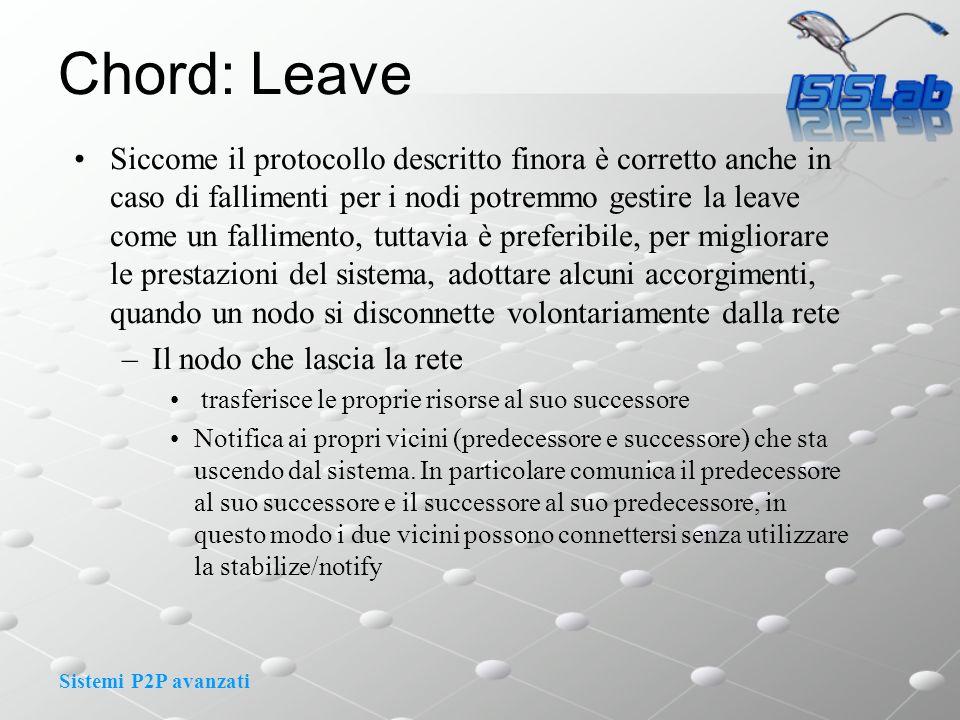 Sistemi P2P avanzati Chord: Leave Siccome il protocollo descritto finora è corretto anche in caso di fallimenti per i nodi potremmo gestire la leave c