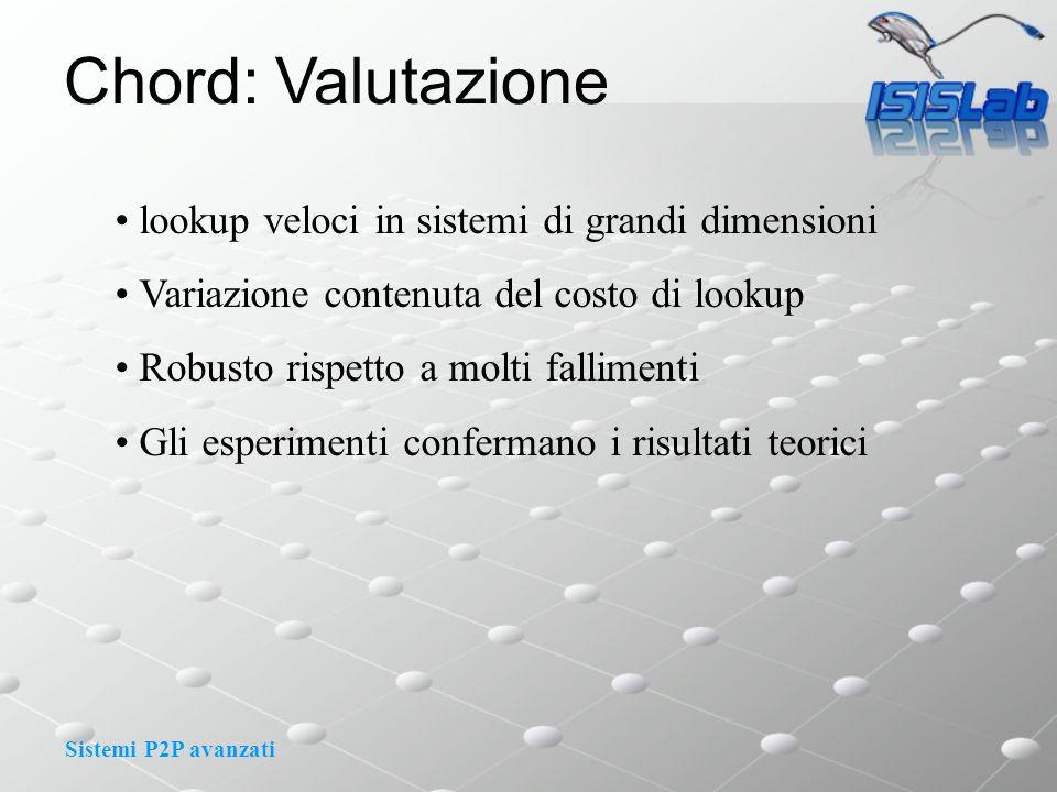 Sistemi P2P avanzati Chord: Valutazione lookup veloci in sistemi di grandi dimensioni Variazione contenuta del costo di lookup Robusto rispetto a molt
