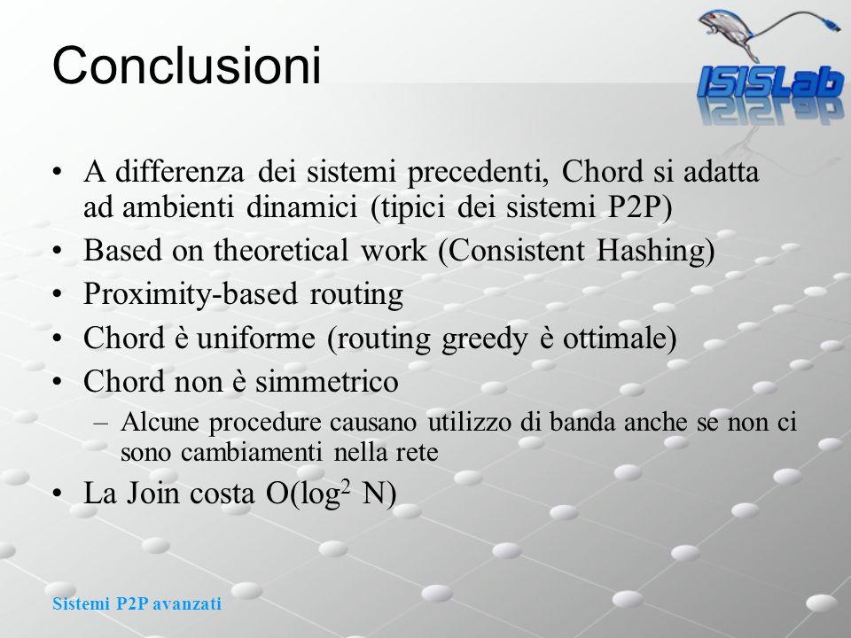 Sistemi P2P avanzati Conclusioni A differenza dei sistemi precedenti, Chord si adatta ad ambienti dinamici (tipici dei sistemi P2P) Based on theoretic