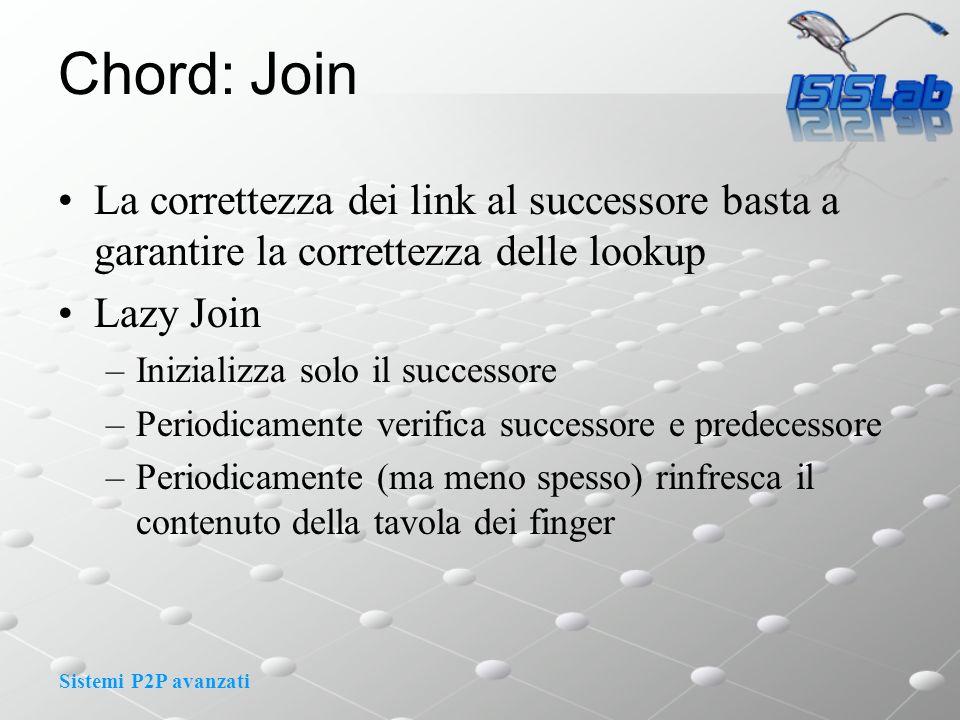 Sistemi P2P avanzati Chord: Join La correttezza dei link al successore basta a garantire la correttezza delle lookup Lazy Join –Inizializza solo il su