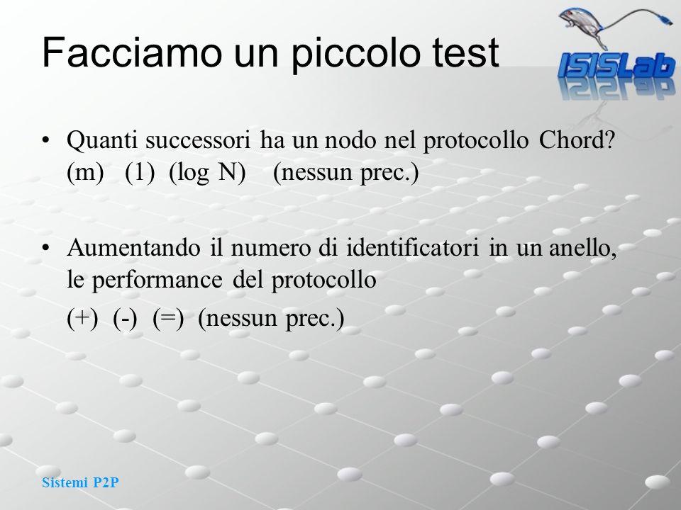 Sistemi P2P Facciamo un piccolo test Quanti successori ha un nodo nel protocollo Chord.