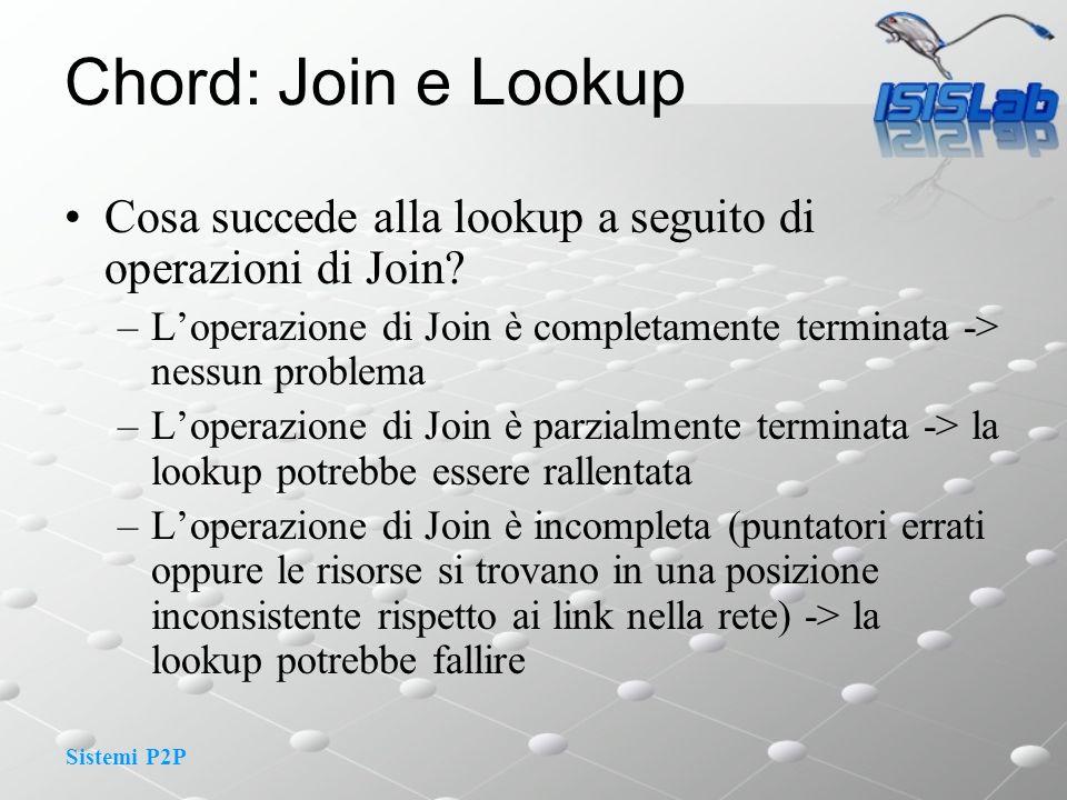 Sistemi P2P Chord: Join e Lookup Cosa succede alla lookup a seguito di operazioni di Join.