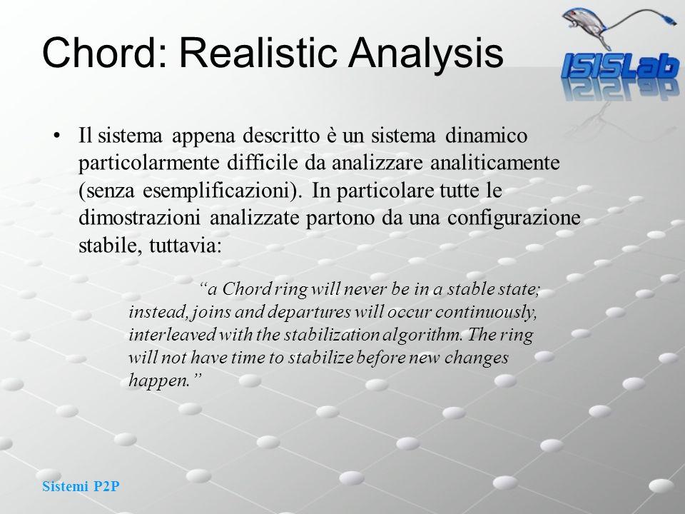Sistemi P2P Chord: Realistic Analysis Il sistema appena descritto è un sistema dinamico particolarmente difficile da analizzare analiticamente (senza esemplificazioni).
