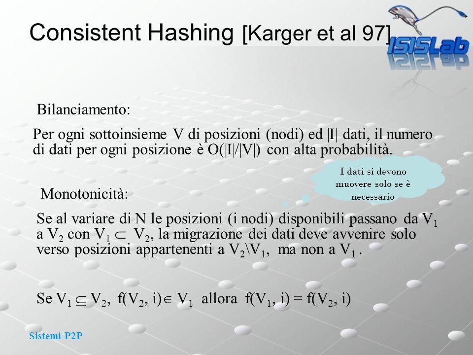 Sistemi P2P Bilanciamento: Per ogni sottoinsieme V di posizioni (nodi) ed |I| dati, il numero di dati per ogni posizione è O(|I|/|V|) con alta probabilità.