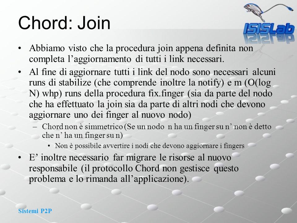 Sistemi P2P Chord: Join Abbiamo visto che la procedura join appena definita non completa laggiornamento di tutti i link necessari.