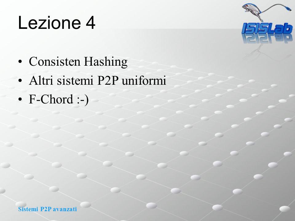 Sistemi P2P avanzati Lezione 4 Consisten Hashing Altri sistemi P2P uniformi F-Chord :-)