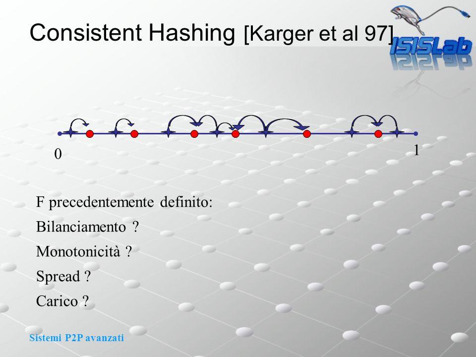 Sistemi P2P avanzati 0 1 F precedentemente definito: Bilanciamento .
