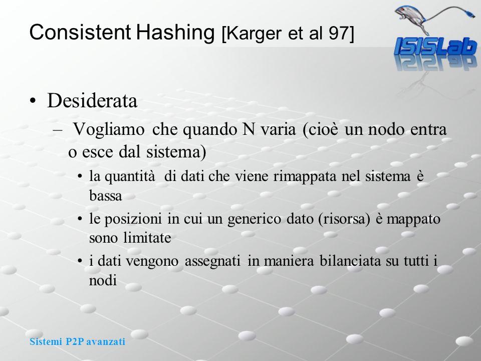 Sistemi P2P avanzati Consistent Hashing [Karger et al 97] Desiderata – Vogliamo che quando N varia (cioè un nodo entra o esce dal sistema) la quantità di dati che viene rimappata nel sistema è bassa le posizioni in cui un generico dato (risorsa) è mappato sono limitate i dati vengono assegnati in maniera bilanciata su tutti i nodi