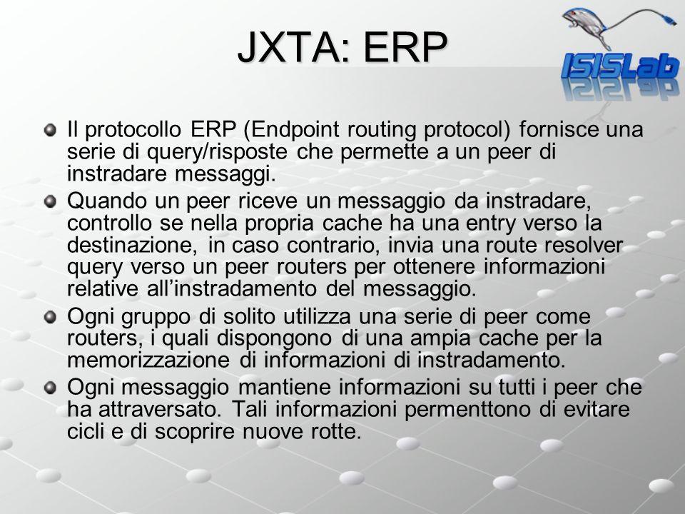 JXTA: ERP Il protocollo ERP (Endpoint routing protocol) fornisce una serie di query/risposte che permette a un peer di instradare messaggi. Quando un