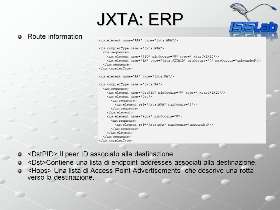 JXTA: ERP Route information Il peer ID associato alla destinazione. Il peer ID associato alla destinazione. Contiene una lista di endpoint addresses a