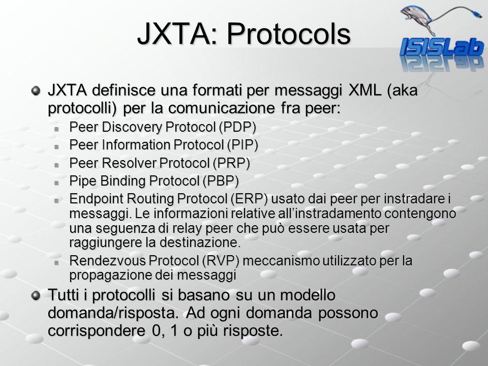 JXTA: Protocols JXTA definisce una formati per messaggi XML (aka protocolli) per la comunicazione fra peer: Peer Discovery Protocol (PDP) Peer Discovery Protocol (PDP) Peer Information Protocol (PIP) Peer Information Protocol (PIP) Peer Resolver Protocol (PRP) Peer Resolver Protocol (PRP) Pipe Binding Protocol (PBP) Pipe Binding Protocol (PBP) Endpoint Routing Protocol (ERP) usato dai peer per instradare i messaggi.