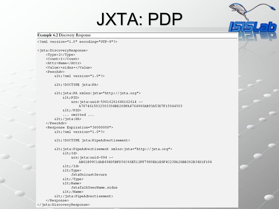 JXTA: ERP Il protocollo ERP (Endpoint routing protocol) fornisce una serie di query/risposte che permette a un peer di instradare messaggi.