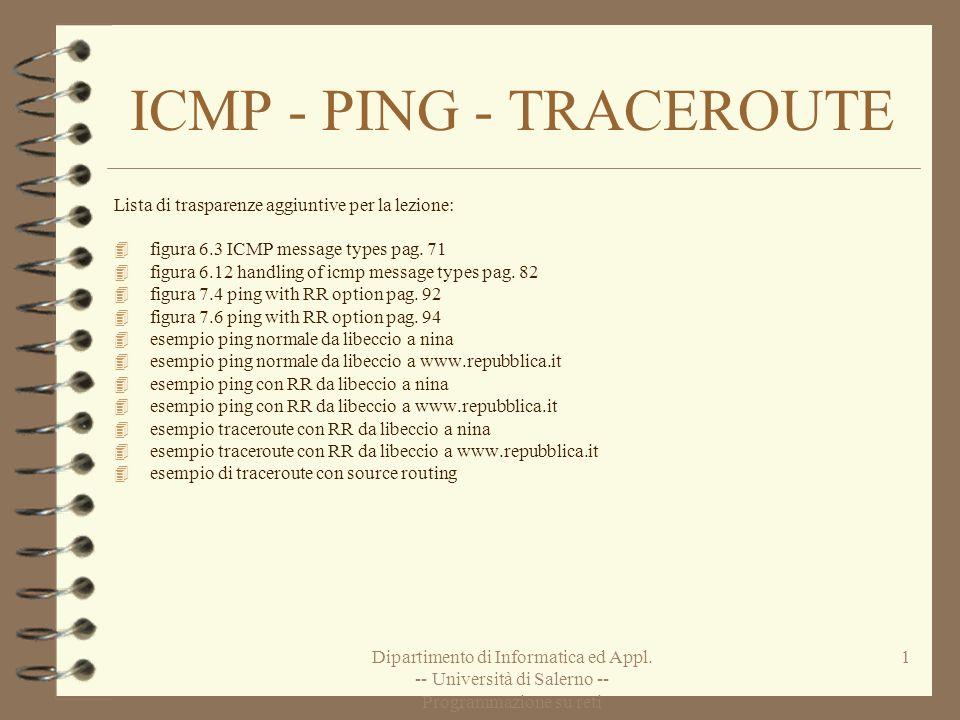 Dipartimento di Informatica ed Appl. -- Università di Salerno -- Programmazione su reti 1 ICMP - PING - TRACEROUTE Lista di trasparenze aggiuntive per