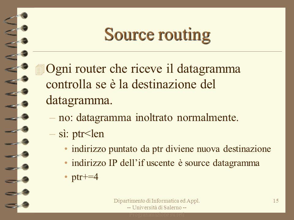 Dipartimento di Informatica ed Appl. -- Università di Salerno -- Programmazione su reti 15 Source routing 4 Ogni router che riceve il datagramma contr