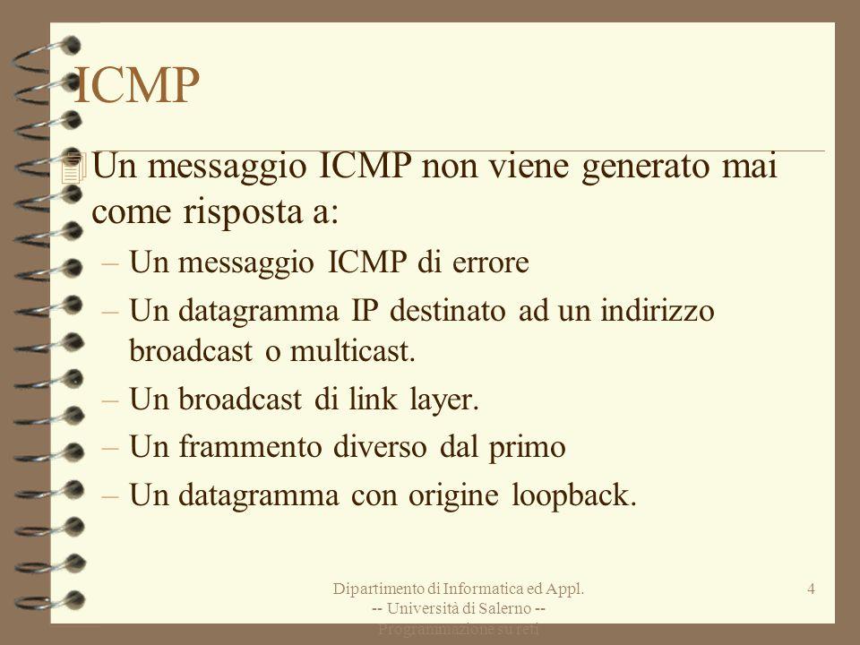 Dipartimento di Informatica ed Appl. -- Università di Salerno -- Programmazione su reti 4 ICMP 4 Un messaggio ICMP non viene generato mai come rispost