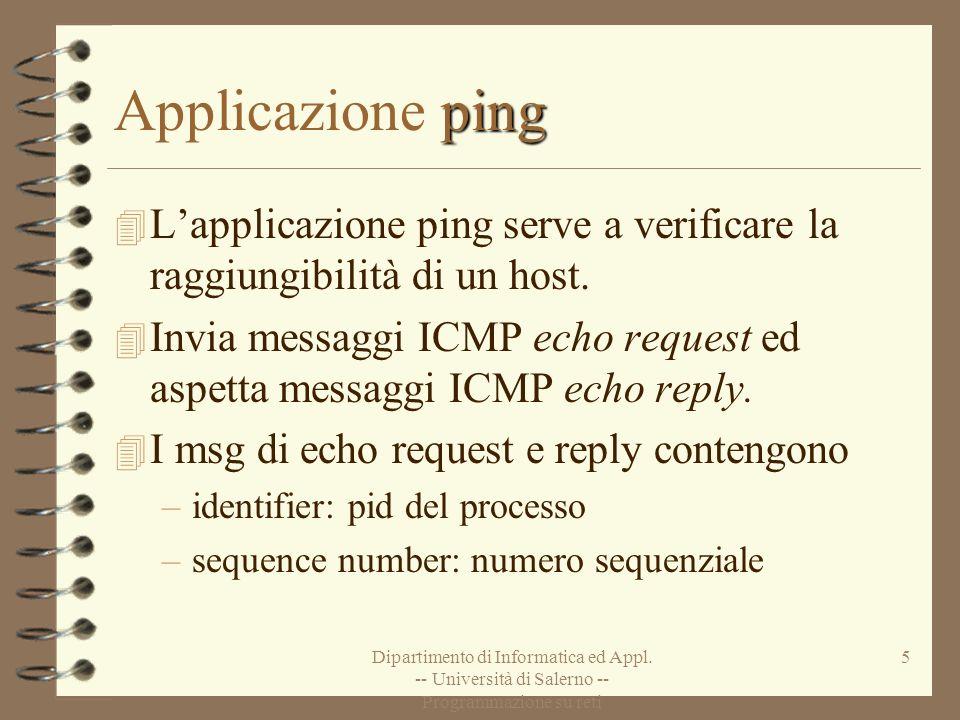Dipartimento di Informatica ed Appl. -- Università di Salerno -- Programmazione su reti 5 ping Applicazione ping 4 Lapplicazione ping serve a verifica