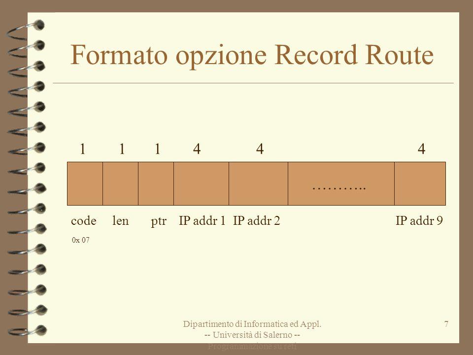 Dipartimento di Informatica ed Appl. -- Università di Salerno -- Programmazione su reti 7 Formato opzione Record Route ……….. code len ptr IP addr 1 IP