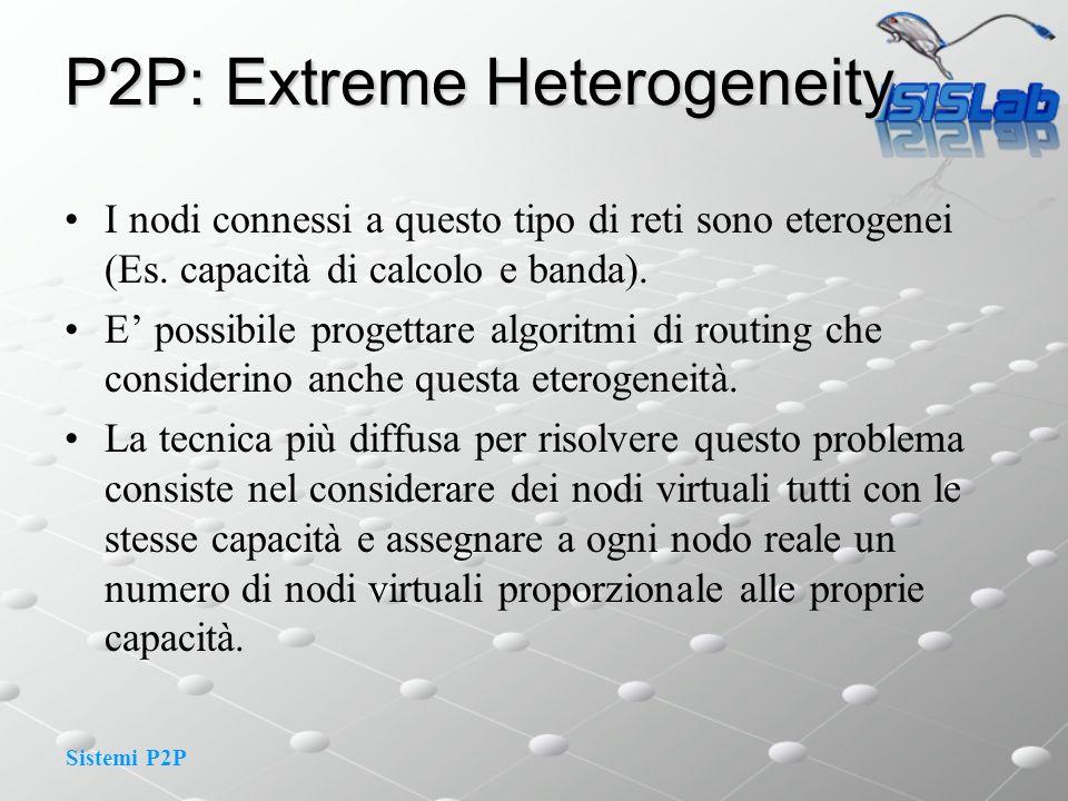 Sistemi P2P P2P: Extreme Heterogeneity I nodi connessi a questo tipo di reti sono eterogenei (Es. capacità di calcolo e banda). E possibile progettare