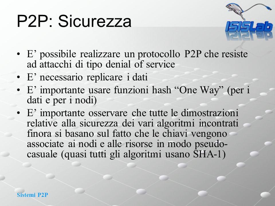 Sistemi P2P P2P: Sicurezza E possibile realizzare un protocollo P2P che resiste ad attacchi di tipo denial of service E necessario replicare i dati E