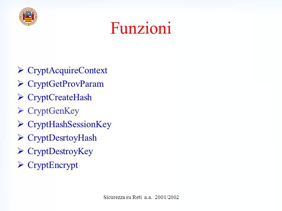 CryptAcquireContext CryptGetProvParam CryptCreateHash CryptGenKey CryptHashSessionKey CryptDesrtoyHash CryptDestroyKey CryptEncrypt Funzioni