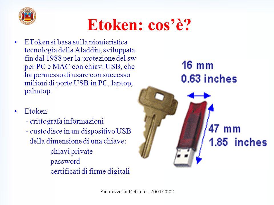 Sicurezza su Reti a.a.2001/2002 Etoken: a cosa serve.