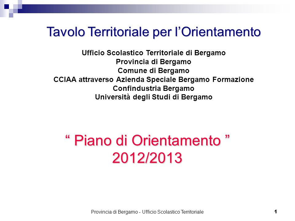 1 Piano di Orientamento Piano di Orientamento 2012/2013 Tavolo Territoriale per lOrientamento Ufficio Scolastico Territoriale di Bergamo Provincia di