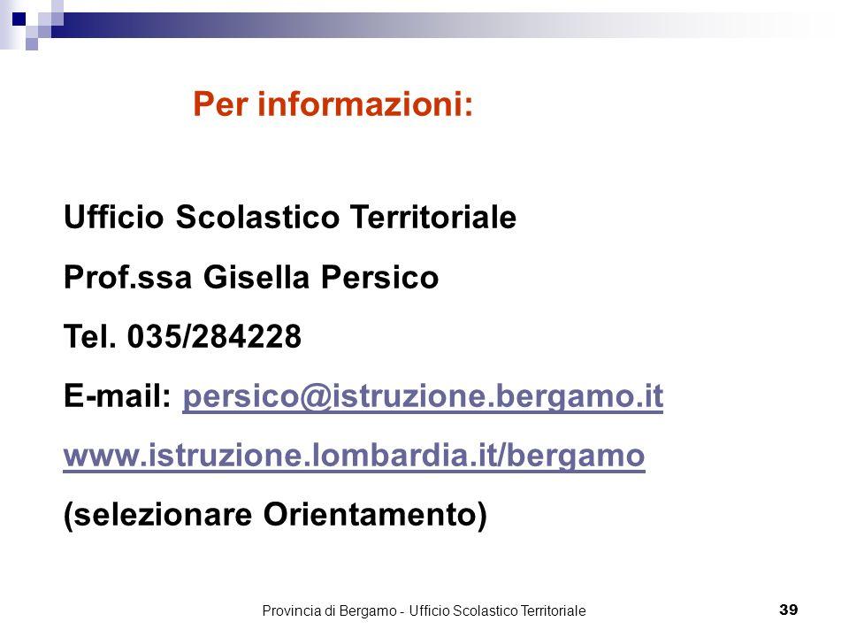 Ufficio Scolastico Territoriale Prof.ssa Gisella Persico Tel. 035/284228 E-mail: persico@istruzione.bergamo.itpersico@istruzione.bergamo.it www.istruz