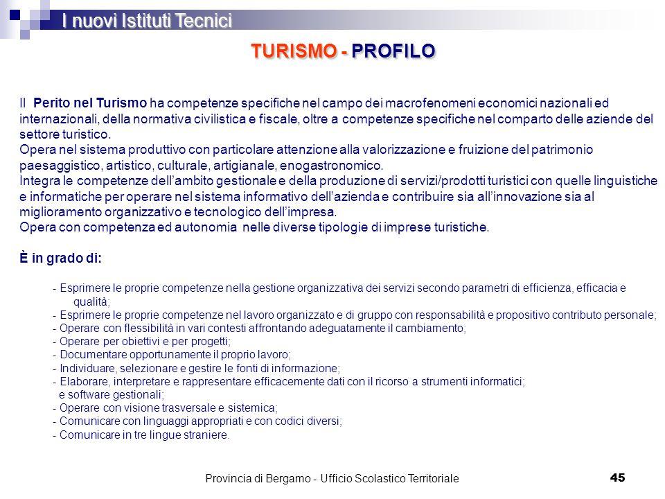 45 I nuovi Istituti Tecnici TURISMO - PROFILO Il Perito nel Turismo ha competenze specifiche nel campo dei macrofenomeni economici nazionali ed intern