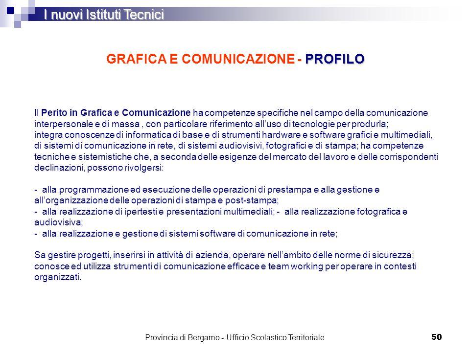 50 PROFILO GRAFICA E COMUNICAZIONE - PROFILO I nuovi Istituti Tecnici Il Perito in Grafica e Comunicazione ha competenze specifiche nel campo della co