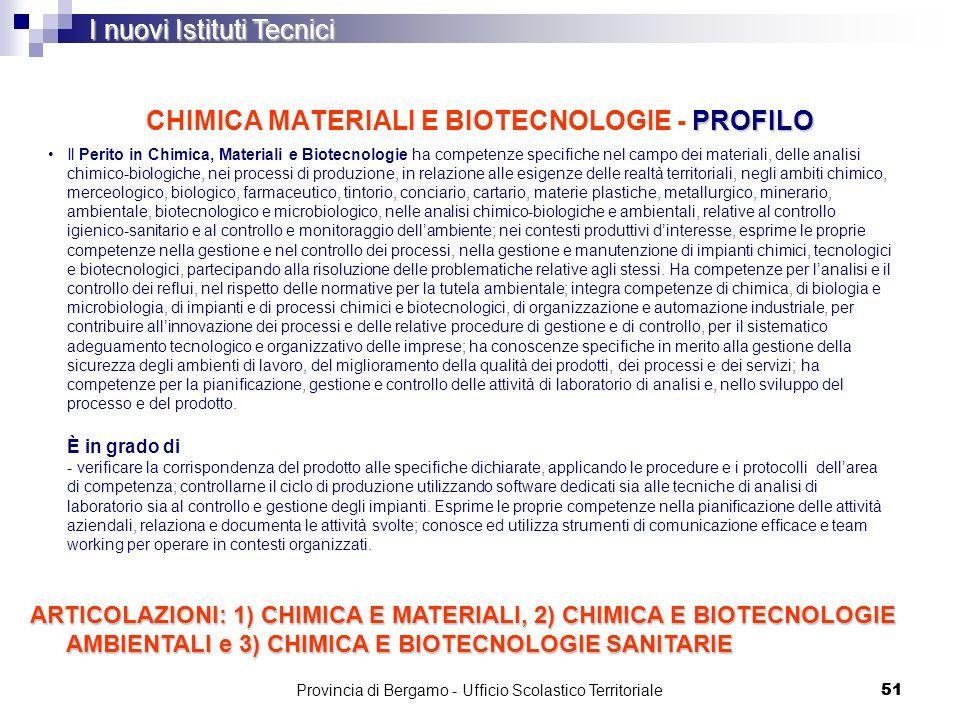 51 PROFILO CHIMICA MATERIALI E BIOTECNOLOGIE - PROFILO I nuovi Istituti Tecnici Il Perito in Chimica, Materiali e Biotecnologie ha competenze specific