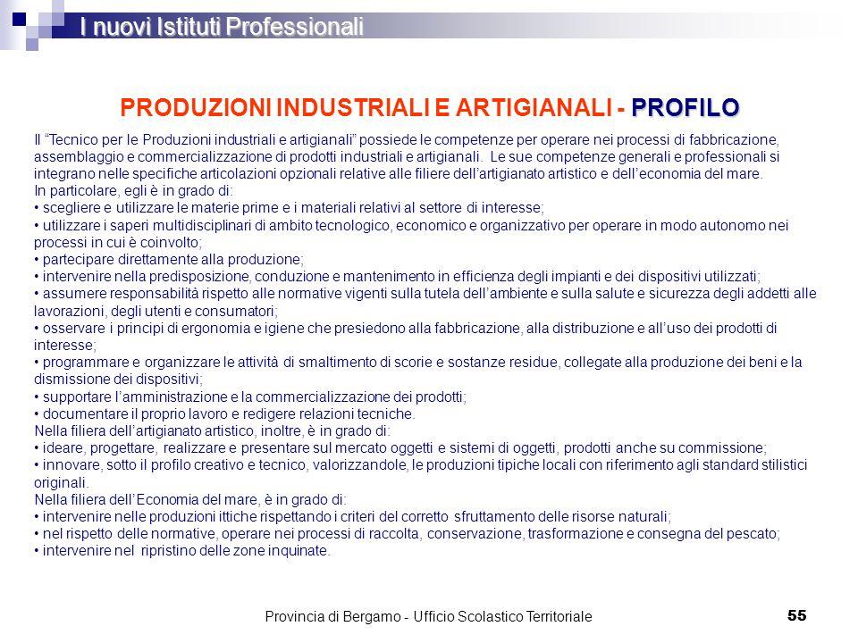 55 PROFILO PRODUZIONI INDUSTRIALI E ARTIGIANALI - PROFILO I nuovi Istituti Professionali Il Tecnico per le Produzioni industriali e artigianali possie
