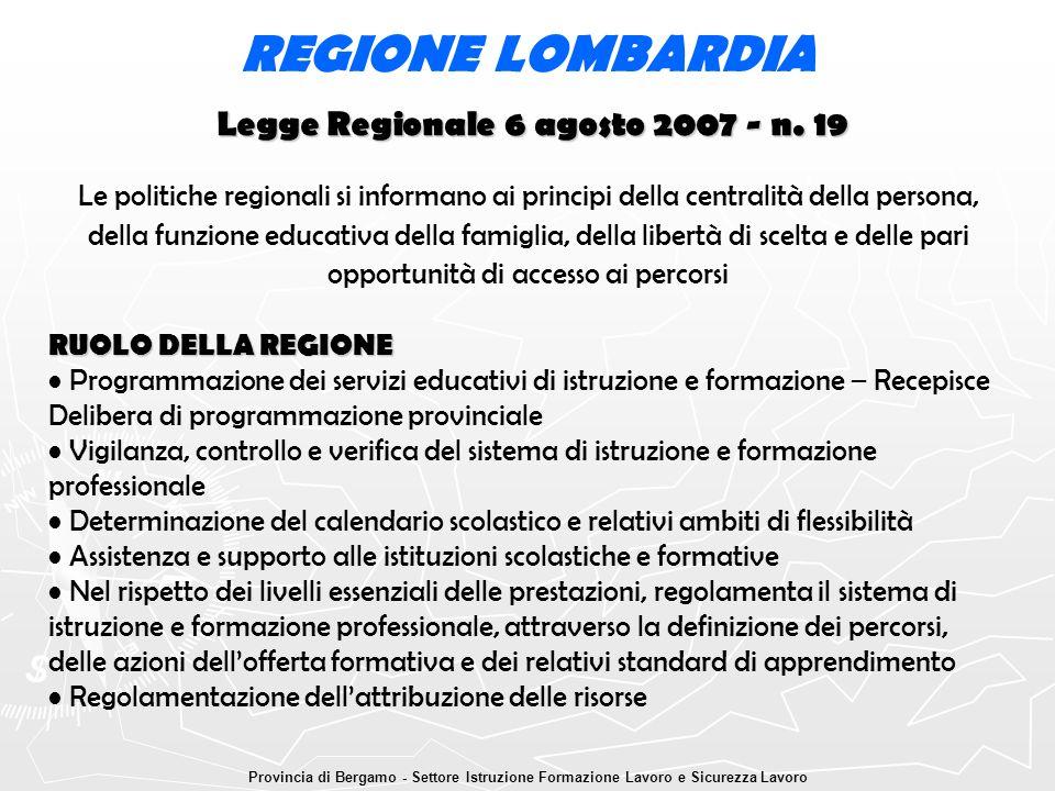 Legge Regionale 6 agosto 2007 - n. 19 REGIONE LOMBARDIA Le politiche regionali si informano ai principi della centralità della persona, della funzione