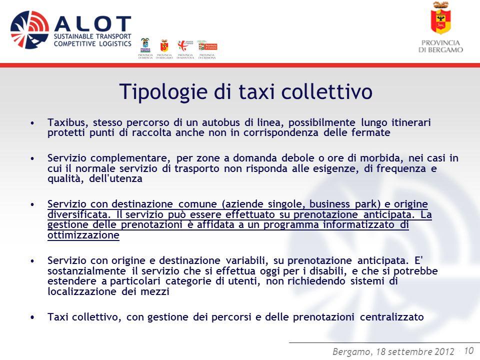 Bergamo,25 luglio 2012 - 10 Bergamo, 18 settembre 2012 Tipologie di taxi collettivo Taxibus, stesso percorso di un autobus di linea, possibilmente lun