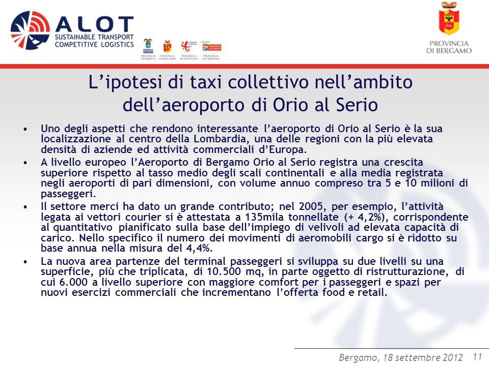 Bergamo,25 luglio 2012 - 11 Bergamo, 18 settembre 2012 Lipotesi di taxi collettivo nellambito dellaeroporto di Orio al Serio Uno degli aspetti che ren