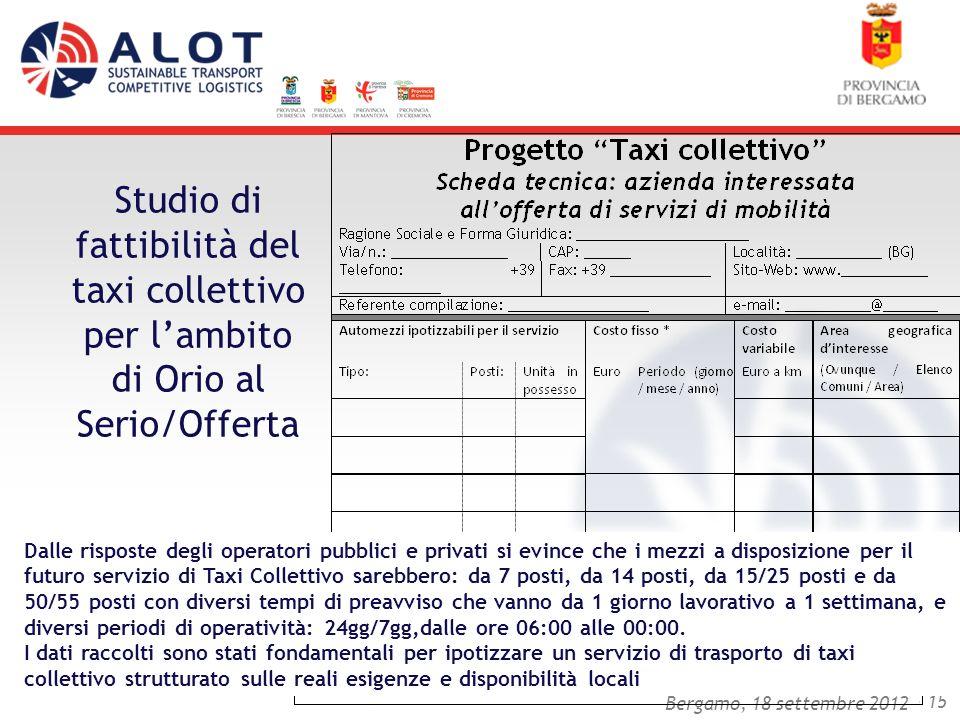 Bergamo,25 luglio 2012 - 15 Bergamo, 18 settembre 2012 Studio di fattibilità del taxi collettivo per lambito di Orio al Serio/Offerta Dalle risposte d
