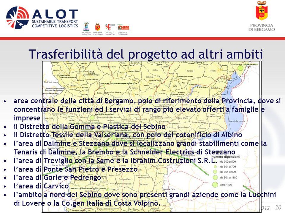 Bergamo,25 luglio 2012 - 20 Bergamo, 18 settembre 2012 Trasferibilità del progetto ad altri ambiti area centrale della città di Bergamo, polo di rifer