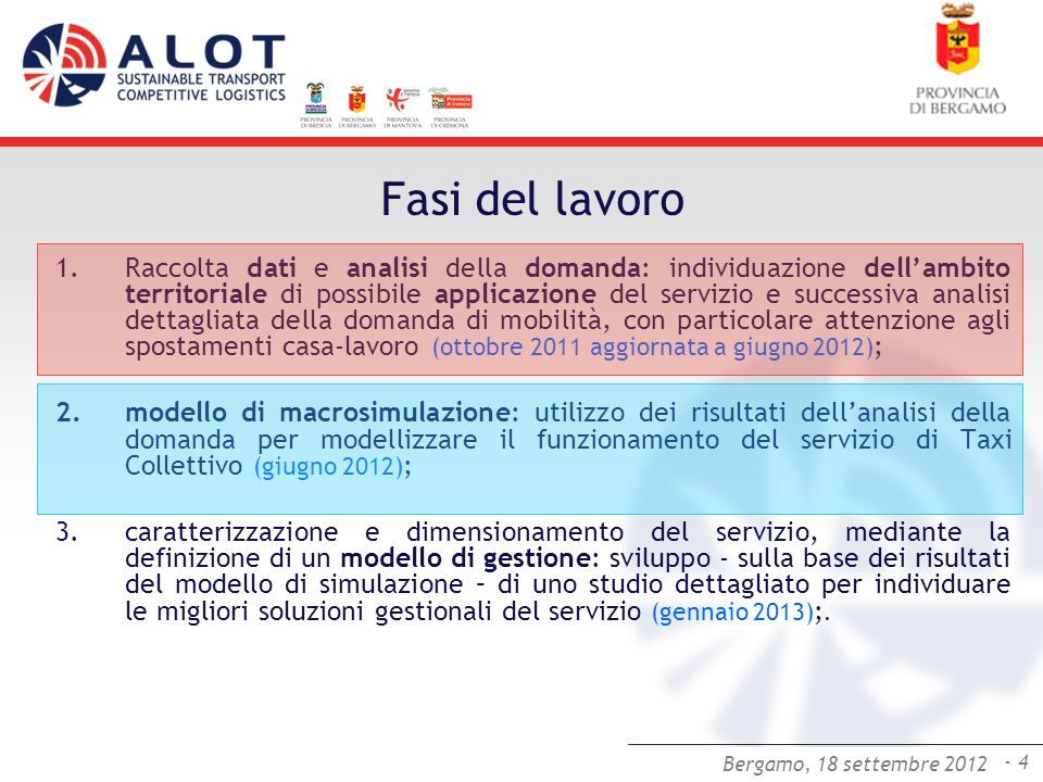 Bergamo,25 luglio 2012 - 4 Bergamo, 18 settembre 2012 Fasi del lavoro 1.Raccolta dati e analisi della domanda: individuazione dellambito territoriale