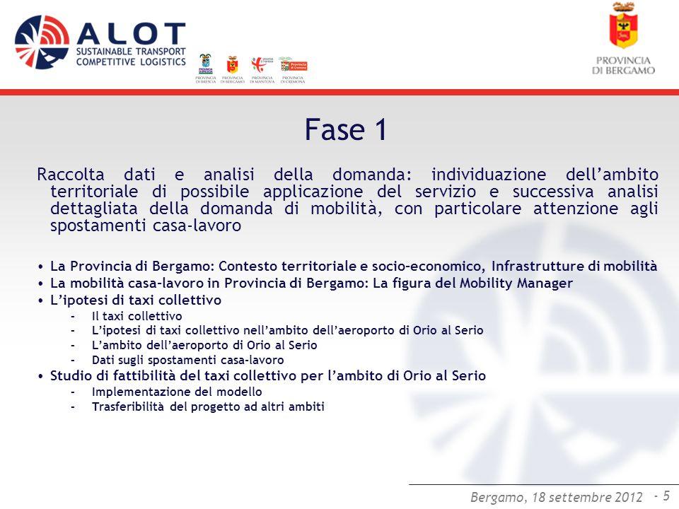 Bergamo,25 luglio 2012 - 5 Bergamo, 18 settembre 2012 Fase 1 Raccolta dati e analisi della domanda: individuazione dellambito territoriale di possibil