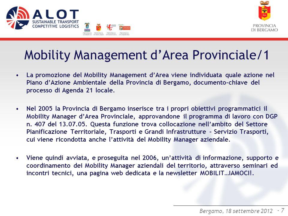 Bergamo,25 luglio 2012 - 7 Bergamo, 18 settembre 2012 Mobility Management dArea Provinciale/1 La promozione del Mobility Management dArea viene indivi