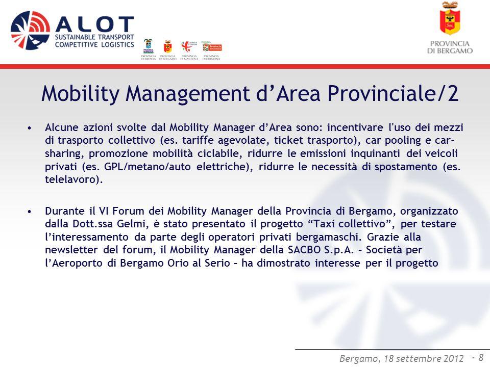 Bergamo,25 luglio 2012 - 8 Bergamo, 18 settembre 2012 Mobility Management dArea Provinciale/2 Alcune azioni svolte dal Mobility Manager dArea sono: in