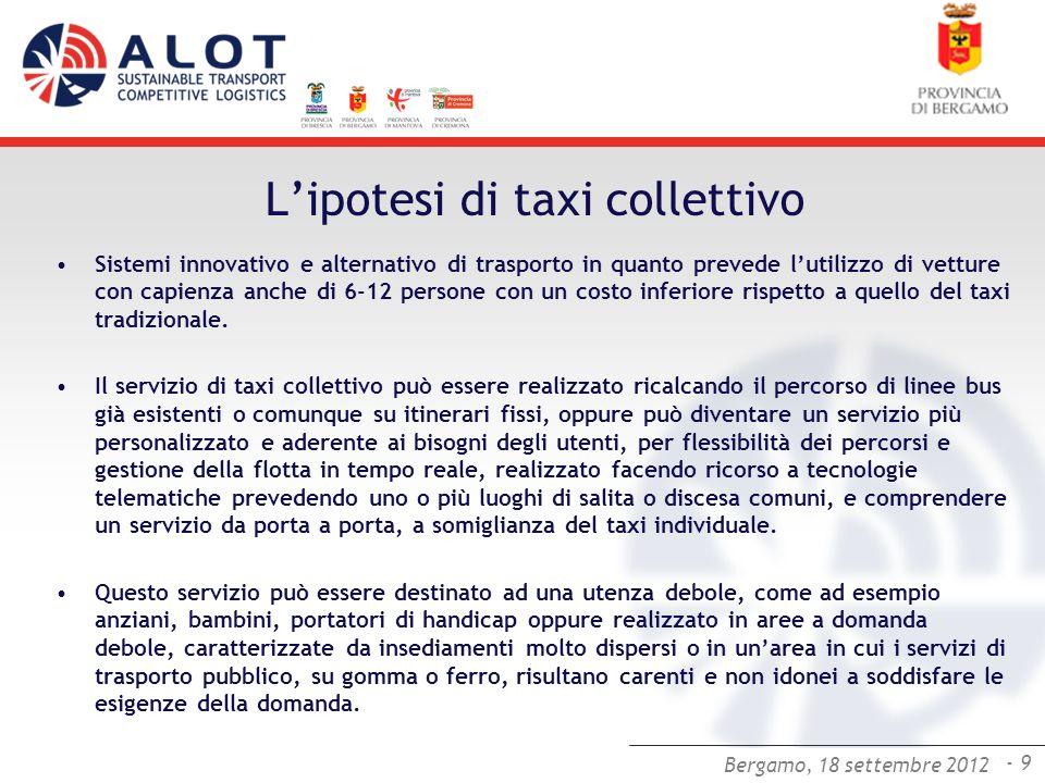 Bergamo,25 luglio 2012 - 9 Bergamo, 18 settembre 2012 Lipotesi di taxi collettivo Sistemi innovativo e alternativo di trasporto in quanto prevede luti