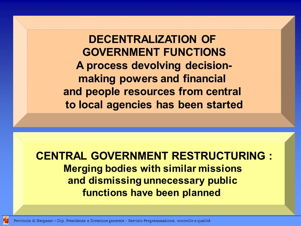 DECENTRALIZATION OF GOVERNMENT FUNCTIONS A process devolving decision- making powers and financial and people resources from central to local agencies