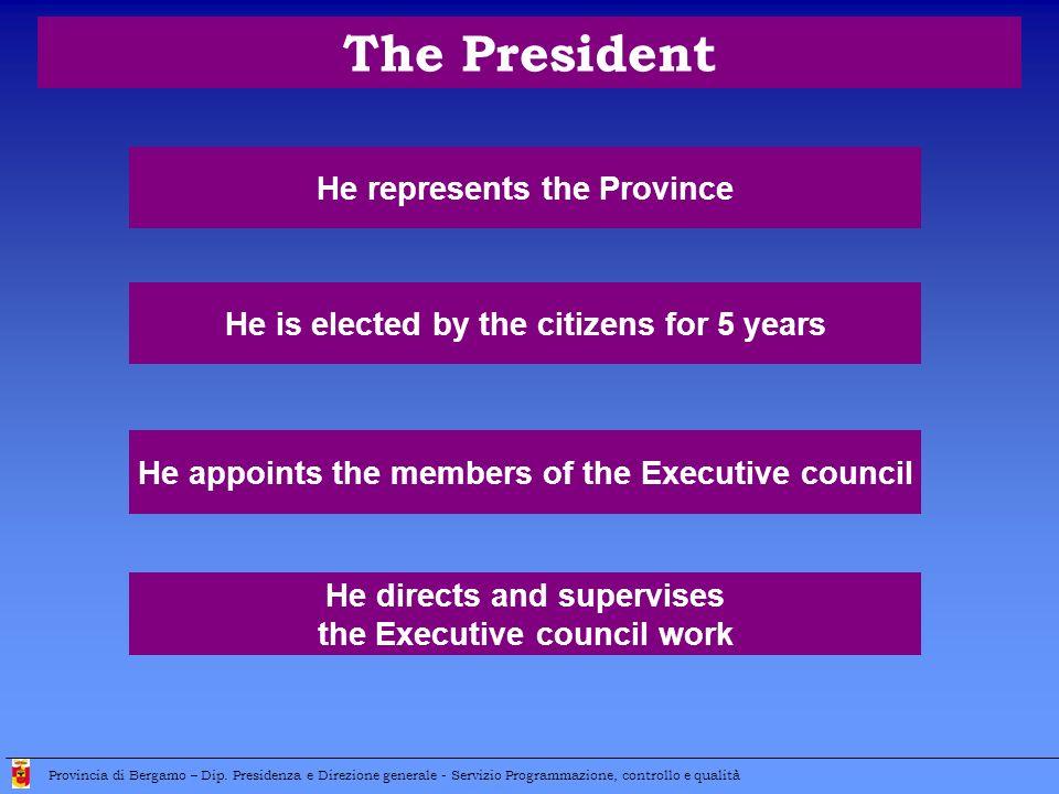 The President He represents the Province Provincia di Bergamo – Dip.