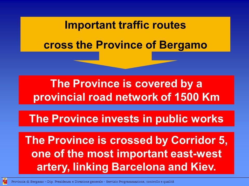 Important traffic routes cross the Province of Bergamo The Province invests in public works Provincia di Bergamo – Dip.