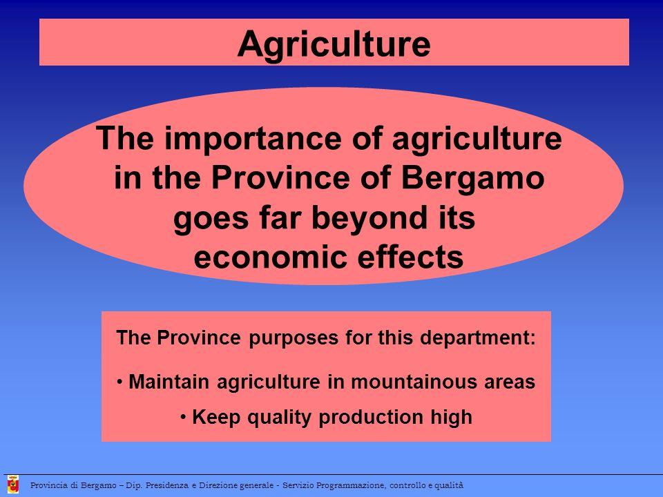 The importance of agriculture in the Province of Bergamo goes far beyond its economic effects Provincia di Bergamo – Dip. Presidenza e Direzione gener