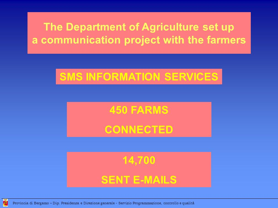 SMS INFORMATION SERVICES The Department of Agriculture set up a communication project with the farmers 450 FARMS CONNECTED 14,700 SENT E-MAILS Provinc
