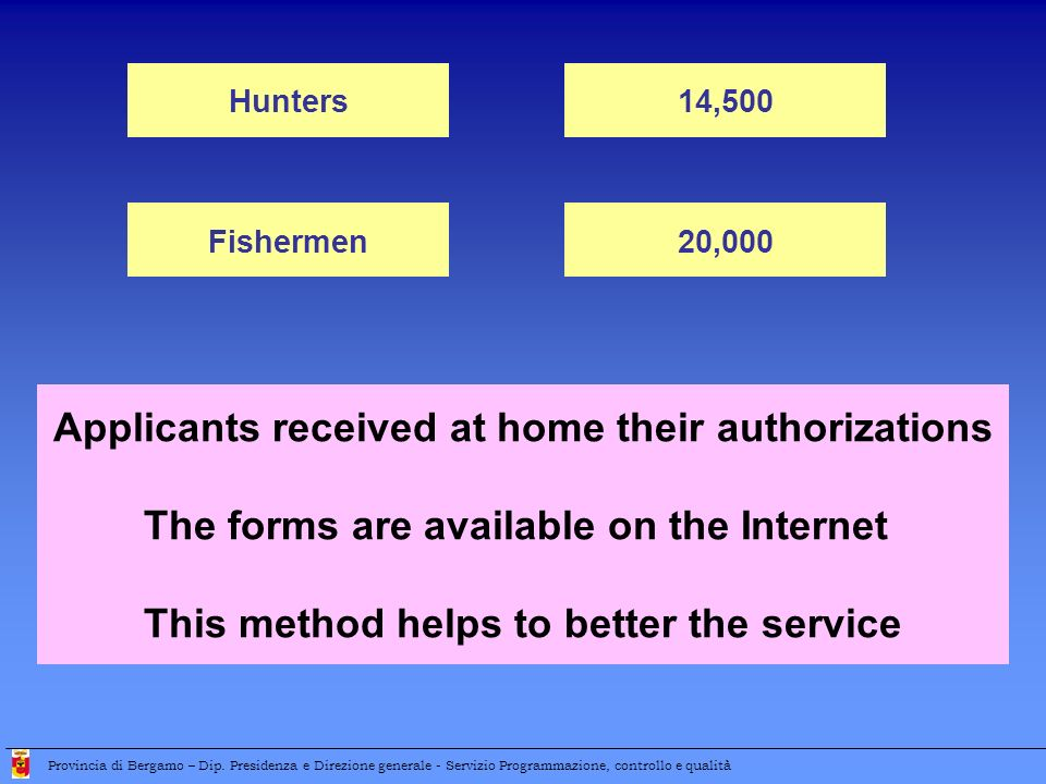 Applicants received at home their authorizations The forms are available on the Internet This method helps to better the service Hunters14,500 Fisherm