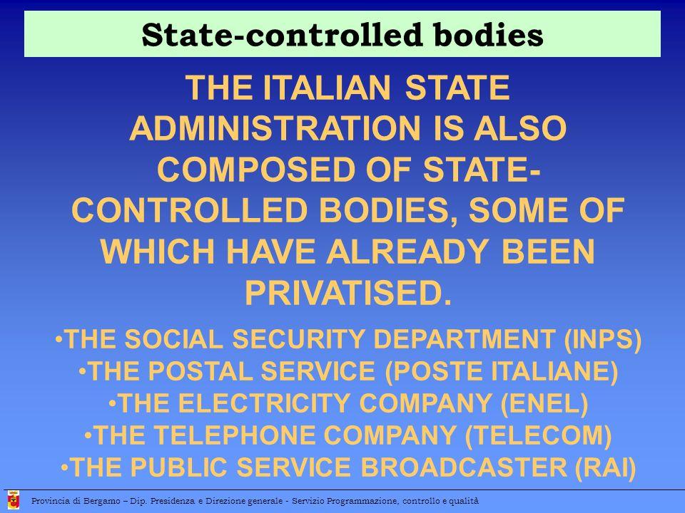 State-controlled bodies Provincia di Bergamo – Dip.