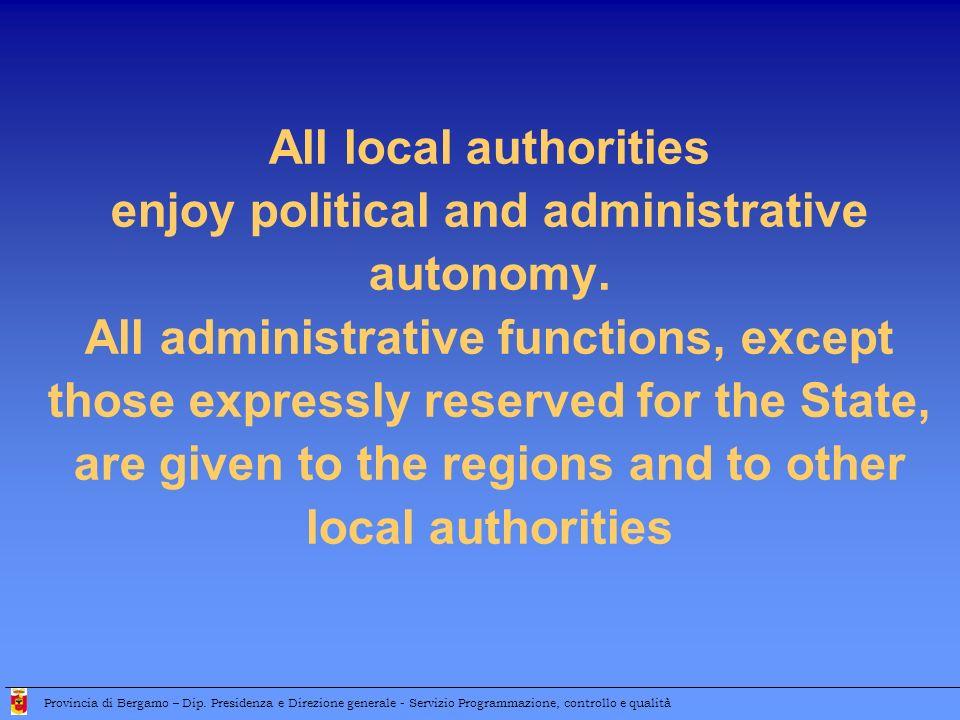 Local government structure Provincia di Bergamo – Dip.