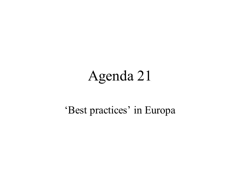 Agenda 21 Best practices in Europa